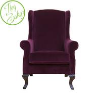 Кресло бордовое бархатное