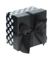 """Коробка квадрат """"Горох"""" (13*13*7,5 см), черная"""