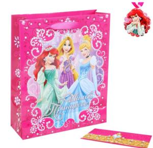 """Купить Пакет ламинированный вертикальный """"Милой принцессе""""+мини открытка, бумажная корона"""