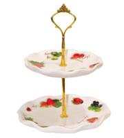"""Блюдо для фруктов """"Садовая ягода"""", 2 уровня,  h=24 см , подарочная упаковка"""