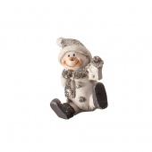 Сувенир  Снеговик, белый/ серебряный