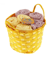 """Набор полотенец в корзинке """"Collorista"""" Coffee-yellow 30*30 см - 6 шт"""