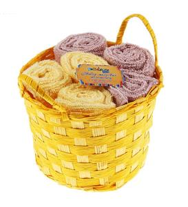"""Купить Набор полотенец в корзинке """"Collorista"""" Coffee-yellow 30*30 см - 6 шт"""
