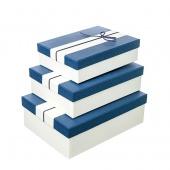 Коробка синяя с бантом, большая