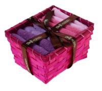 """Набор полотенец в корзинке """"Collorista"""" Pink-violet 30х30шт - 4 шт"""