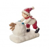 Сувенир Мальчик со снежком и собакой