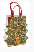 Пакет-открытка НГ Котенок с елкой, тиснение