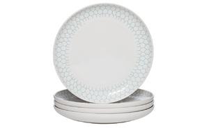 Купить Тарелка белая с бирюзовым рисунком (4) 14.8*14.8*1.8