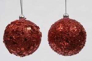Купить Шар из пенопласта с блестящим декором, красный