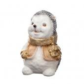 Сувенир Ежик в шарфе, золотой
