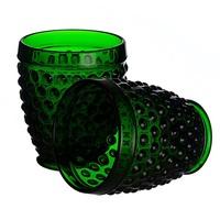 Стакан для воды яркий темно-зеленый Стеклянный горошек