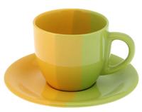 Чайная пара 200мл, зелено-желтая
