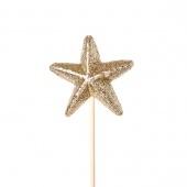 Звезда с глиттером на вставке, золотой